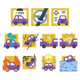 Simple colored icons for car insurance. Simple flat yellow and purple icons for car insurance. Documents, accident, crash, broken and sample other cases provided Royalty Free Stock Image
