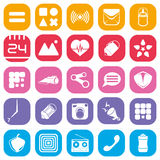 Simple colored icons. A collection of colorful mobile icons Royalty Free Stock Images