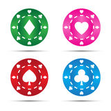 Simple colored poker chips Stock Images
