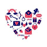 Simple colored valentine`s day icons placed in a heart shape. vector illustration
