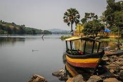 Wooden boat on the Nile River in Uganda stock image