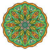 Simple colorful abstract mandala. Bright circular ornament consists of simple shapes. Stylized ethnic motive of East Asia.Circular ornament Stock Photo