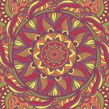 Simple colorful abstract mandala, ethno motive. Bright circular ornament consists of simple shapes. Stylized ethnic royalty free illustration