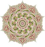 Simple colorful abstract mandala, ethno motive. Bright circular ornament consists of simple shapes. Stylized ethnic vector illustration