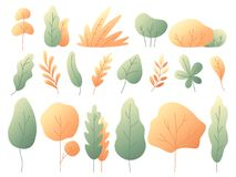 Simple colorful autumn leaves. Autumnal trees and bushes. Minimalistic yellow leaf flat vector set stock illustration