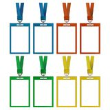 Simple, colorful blank id card/badge vertical icon set. Gradient and flat versions. Four color variations royalty free illustration
