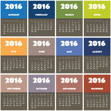 Simple Colorful Calendar Design for Year 2016 Stock Photo