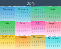 Simple colorful calendar for 2016. Week starts Sunday. Vector. Illustration Stock Images