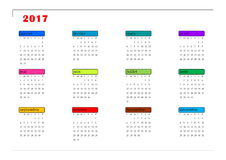 Simple colorful calendar for 2017 year in french language Royalty Free Stock Photos