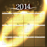 Simple 2014 colorful celebration calendar Stock Photography