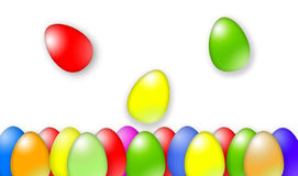 Simple colorful Easter eggs falling Royalty Free Stock Photo