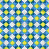 Simple colorful fabric texture with structure of repeating polka dots and diagonal lines Stock Image
