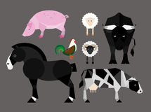 Simple colorful flat illustration of farm animals Stock Images