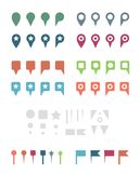 Simple Colorful Flat Map Pins and Elements. Royalty Free Stock Images