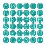 Simple colorful font. Complete abc alphabet set. Simple font. Complete abc alphabet set. Vector letters and numbers. Doodle typographic symbols Vector Illustration