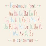 Simple colorful hand drawn font. Complete abc Royalty Free Stock Image