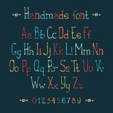 Simple colorful hand drawn font. Complete abc Royalty Free Stock Photography