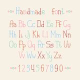 Simple colorful hand drawn font. Complete abc Stock Image