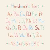 Simple colorful hand drawn font. Complete abc Stock Images