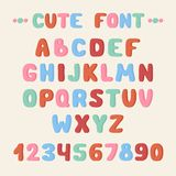 Simple colorful hand drawn font. Complete abc Royalty Free Stock Photo