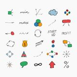 Simple colorful hand drawn icons. Business and. Set of simple colorful hand drawn icons. Business and start up. Vector illustration. Easy to paste to any Royalty Free Stock Photos