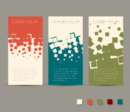 Simple colorful horizontal banners - with square motive. And retro colors Stock Photography