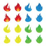 Simple colorful icon flames in the flat style. Vector set of fire and flame icons. Vector illustration EPS.8 EPS.10 Royalty Free Stock Image