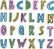 Simple colorful kids ABC alphabet. Hand drawn comic doodle font.marker Royalty Free Illustration