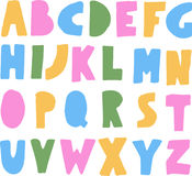 Simple colorful kids ABC alphabet. Hand drawn comic doodle font.marker Stock Images