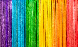 Free Simple Colorful Natural Full Rainbow Made From Wooden Popsicle Sticks, Eco Background Texture Planks Fence Multi Colored Royalty Free Stock Photography - 174129417
