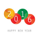 Simple Colorful New Year Card, Cover or Background Design Template - 2016 Stock Photo