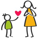 Simple colorful stick figures family, boy giving love, heart to mother on Mother`s Day, birthday royalty free illustration
