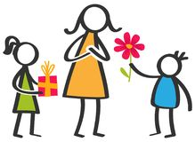 Simple colorful stick figures family, children giving flowers and gifts to mother on Mother`s Day. Isolated on white background Royalty Free Stock Image