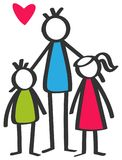 Simple colorful stick figures single parent, father, son, daughter, children. Isolated on white background with red heart Royalty Free Stock Photography