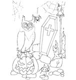 The simple coloring for Halloween theme made by hand drawing Stock Photo