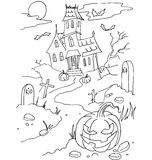 The simple coloring for Halloween theme made by hand drawing Stock Images