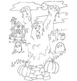 The simple coloring for Halloween theme made by hand drawing Royalty Free Stock Photography