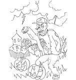 The simple coloring for Halloween theme made by hand drawing Royalty Free Stock Photo