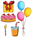 A simple coloured sketch of a birthday celebration Royalty Free Stock Image