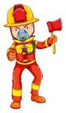 A simple coloured sketch of a fireman Stock Photos