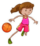 A simple coloured sketch of a girl playing basketball Royalty Free Stock Photos