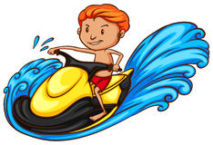 A simple coloured sketch of a man doing watersport. Illustration of a simple coloured sketch of a man doing watersport on a white background royalty free illustration