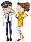 A simple coloured sketch of a pilot and a hostess. Illustration of a simple coloured sketch of a pilot and a hostess on a white background Royalty Free Stock Image