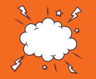 Simple comic speech cloud bubbles with star and thunderstorm Royalty Free Stock Image