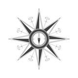 Simple compass rose (wind rose) in the style of historical maps. Stock Images