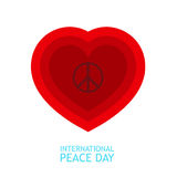 Red heart and peace symbol inside for poster or background about peace day Stock Image