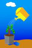 Simple conceptual  vector - Investment, at blue background Stock Photo