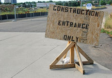 Simple Construction Entrance Only Sign Royalty Free Stock Image