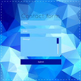 Simple contact us form templates. Vector template with blue polygonal background. For ui, web games, tablets, wallpapers, and patterns Stock Photos