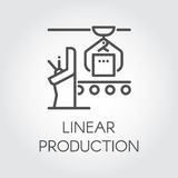 Simple contour label of linear production concept. Line icon or infographic element for different design needs Royalty Free Stock Photo